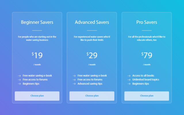 responsive pricing table in html