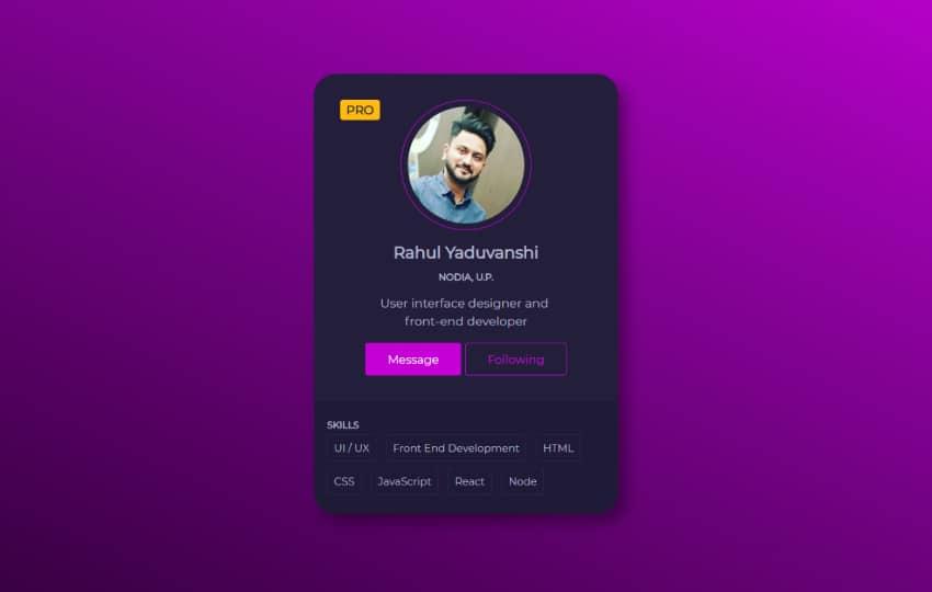 Profile Card Design - Css3 Transition